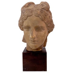Early 20th Century Art Deco Plaster Bust of a Female Head on Wooden Stand, 1930