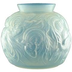Early 20th Century Art Deco Sabino Opalescent Art Glass Birds of Paradise Vase