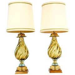 Early 20th Century Art Glass Pair Table Lamps With Wood Base