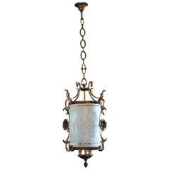 Early 20th Century Art Nouveau Brass Etched Glass Cylinder Three-Light Lantern