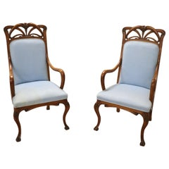 Early 20th Century Art Nouveau Carved Walnut Pair of Armchairs
