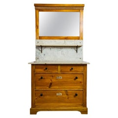Early 20th-Century Art Nouveau Pine Commode Turned into Vanity