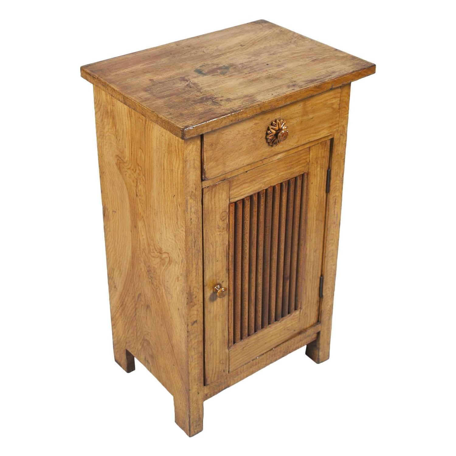 Early 20th Century Art Nouveau Country Nightstand Cabinet Restored  Wax-Polished