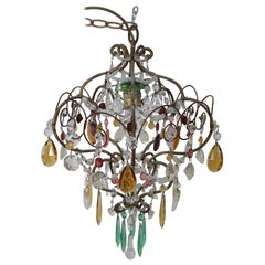 Early 20th Century Art Nouveau Italian Bronze and Colored Crystals Chandelier