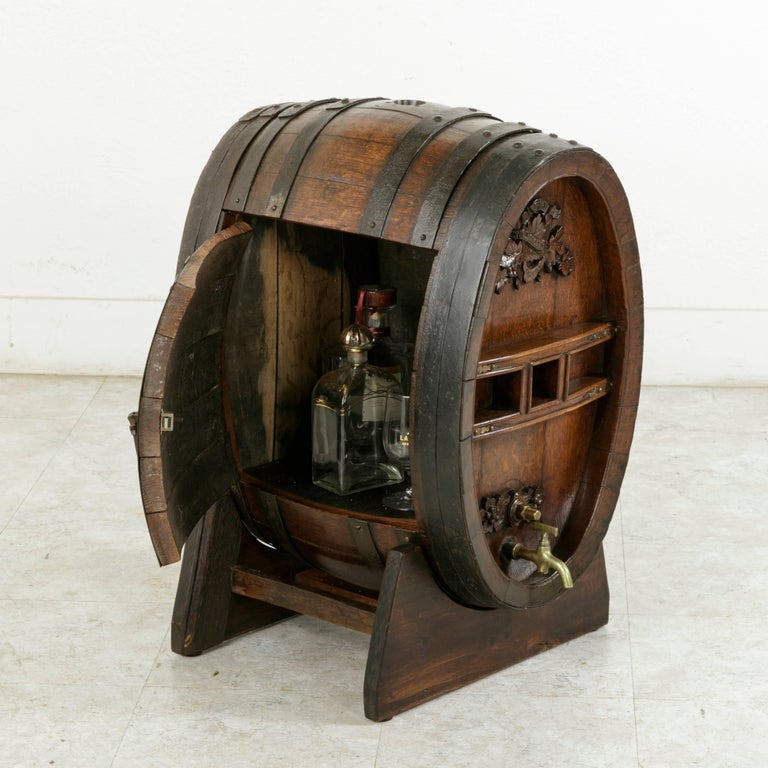 Early 20th Century Artisan Made Oak Calvados Barrel Dry Bar on Stand For Sale 5