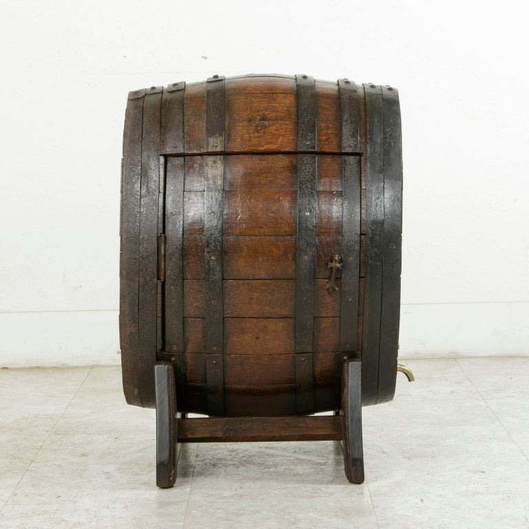 Early 20th Century Artisan Made Oak Calvados Barrel Dry Bar on Stand For Sale 1