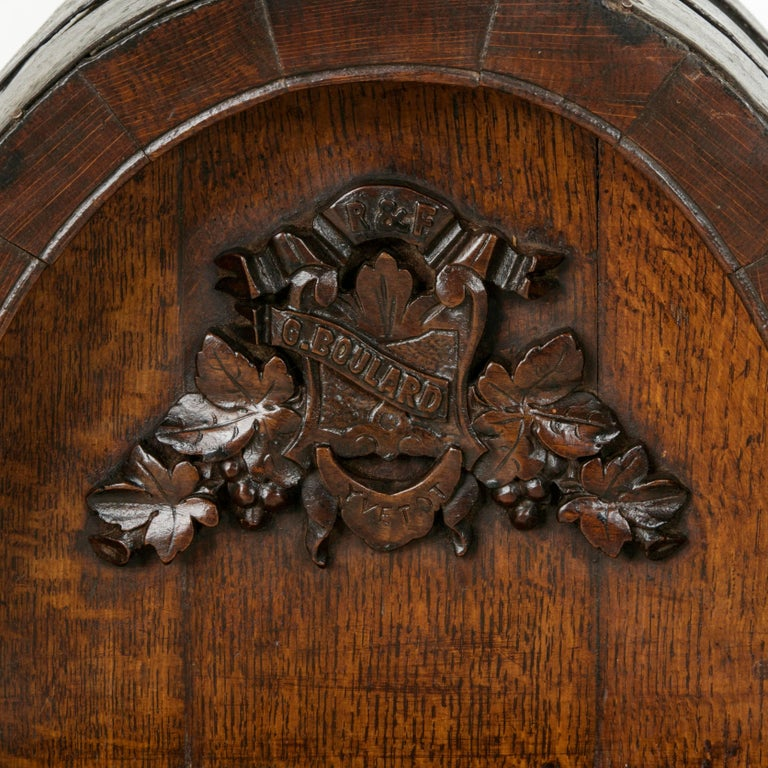 Early 20th Century Artisan Made Oak Calvados Barrel Dry Bar on Stand For Sale 2