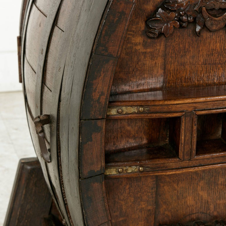 Early 20th Century Artisan Made Oak Calvados Barrel Dry Bar on Stand For Sale 4