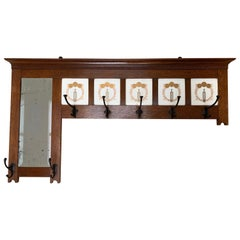 Early 20th Century Arts and Crafts Oak Coat Rack, Mirror and Hand Painted Tiles