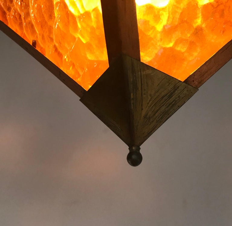 Early 20th Century Arts & Crafts Copper and Glass Cube Shape Pendant Light Lamp For Sale 3