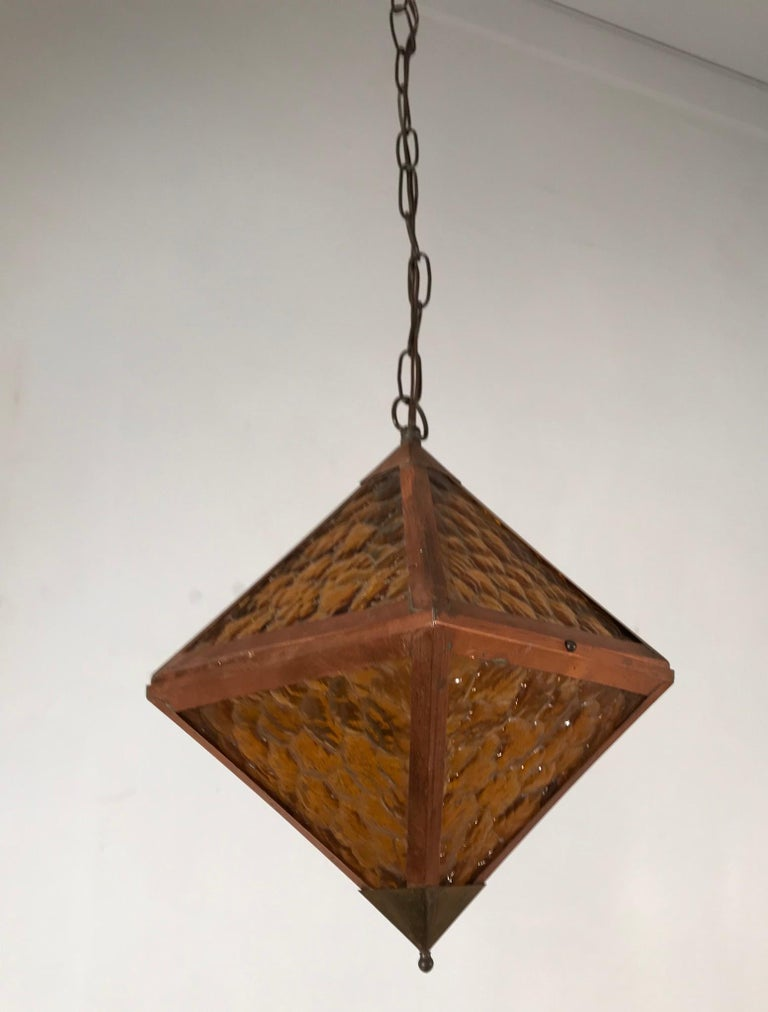 Early 20th Century Arts & Crafts Copper and Glass Cube Shape Pendant Light Lamp For Sale 8