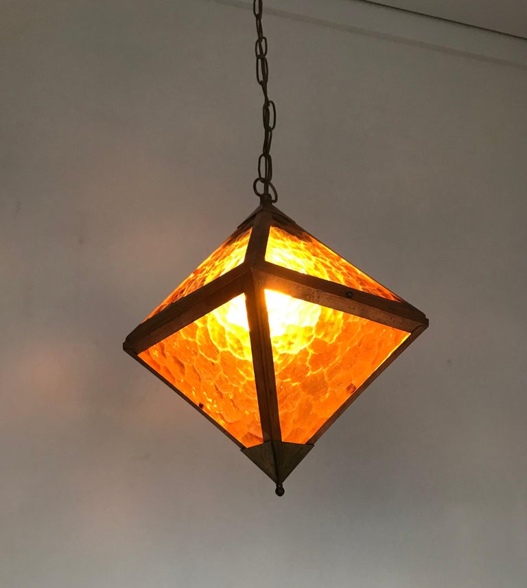 Arts and Crafts Early 20th Century Arts & Crafts Copper and Glass Cube Shape Pendant Light Lamp For Sale