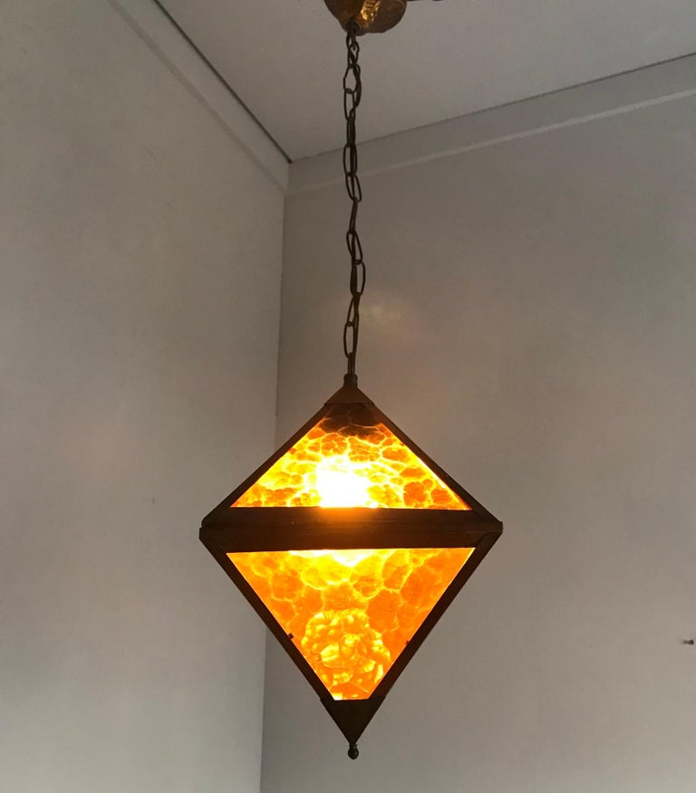 Brass Early 20th Century Arts & Crafts Copper and Glass Cube Shape Pendant Light Lamp For Sale