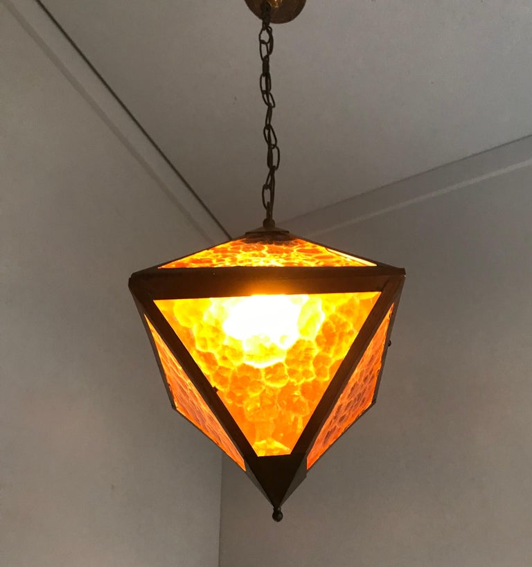 Early 20th Century Arts & Crafts Copper and Glass Cube Shape Pendant Light Lamp For Sale 1