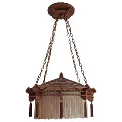 Early 20th Century Arts & Crafts Handsawn Wooden Pendant with Tassels & Fringes