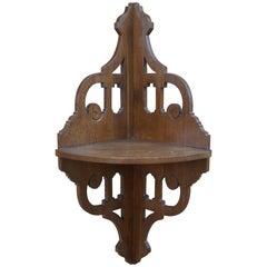 Early 20th Century Arts & Crafts Oak Corner Shelf / Console / Wall Bracket