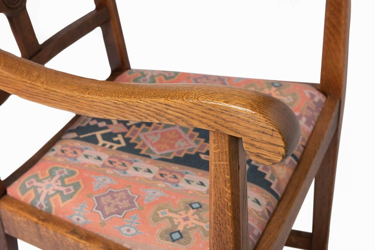 Early 20th Century Arts & Crafts Oak Framed Elbow Chair For Sale 2