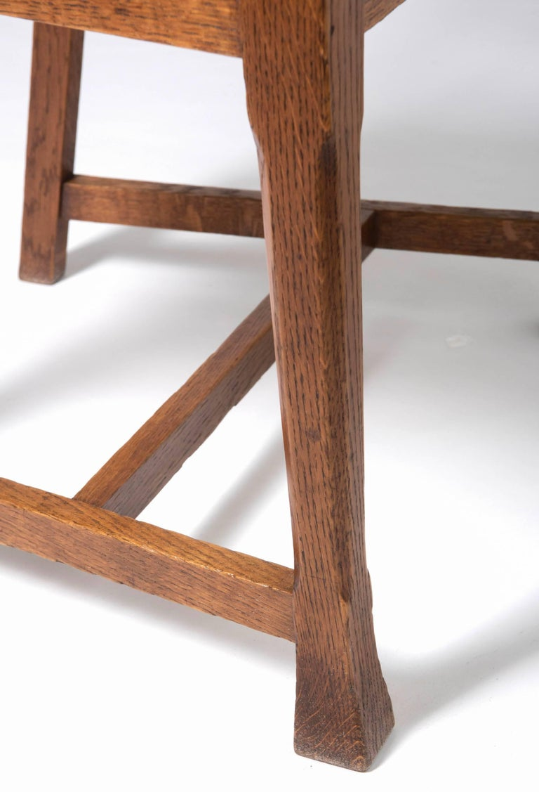 Early 20th Century Arts & Crafts Oak Framed Elbow Chair For Sale 3