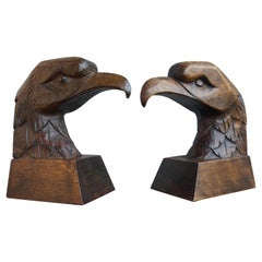 Early 20th Century Arts & Crafts Pair of Hand Carved American Eagle Bookends