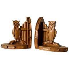 Early 20th Century Arts & Crafts Period Gothic Revival Owl Bookends Book Easels