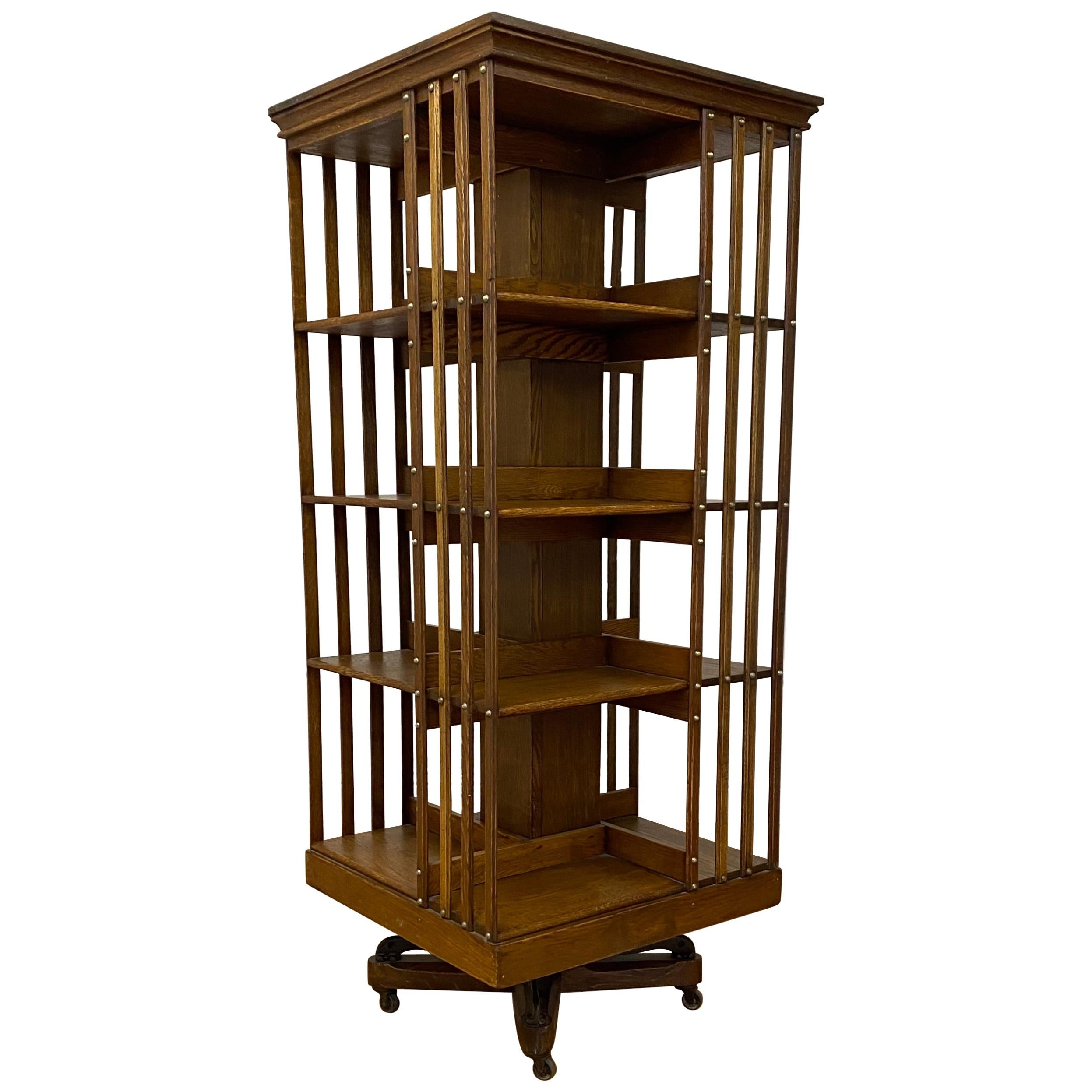Early 20th Century Arts & Crafts Rotating Bookcase, C.1900-1910