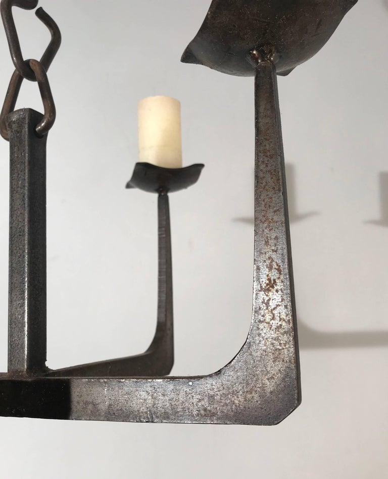 Early 20th Century Arts & Crafts Wrought Iron Candle Lamp Four Candle Chandelier In Excellent Condition For Sale In Lisse, NL