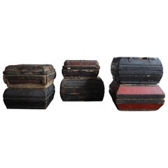 Early 20th Century Asian Covered Food Boxes Set of Six