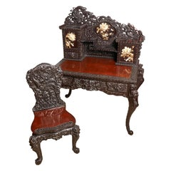 Early 20th Century Asian Hand Carved Desk with Applied Flower Motif and Chair