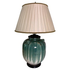 Early 20th Century Asian Pottery Vase Table Lamp