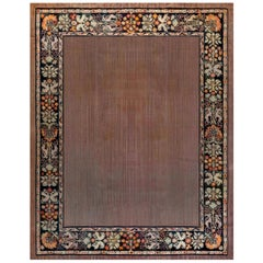 Early 20th Century Aubusson Light Brown and Purple Handmade Carpet
