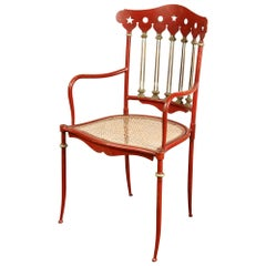 Early 20th Century Austrian Painted Iron and Cane Chair