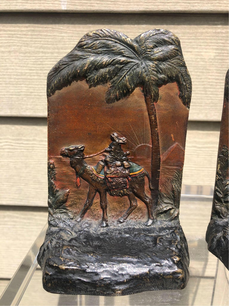 Early 20th Century Austrian Polychrome Bookends with Egyptian Scene In Good Condition For Sale In Charleston, SC