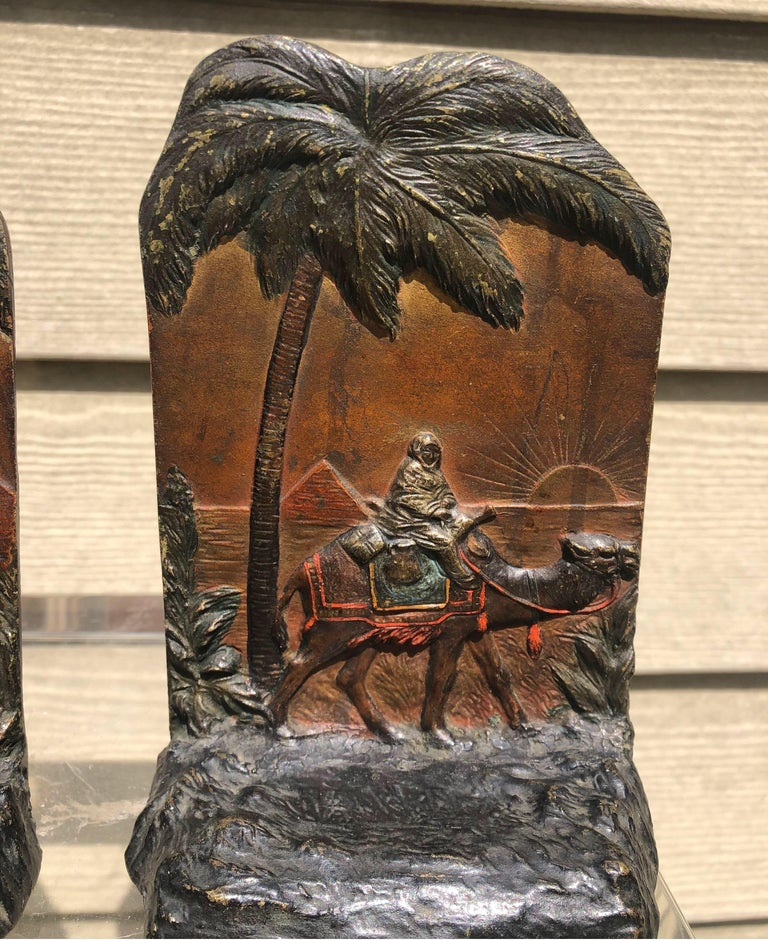 Bronze Early 20th Century Austrian Polychrome Bookends with Egyptian Scene For Sale