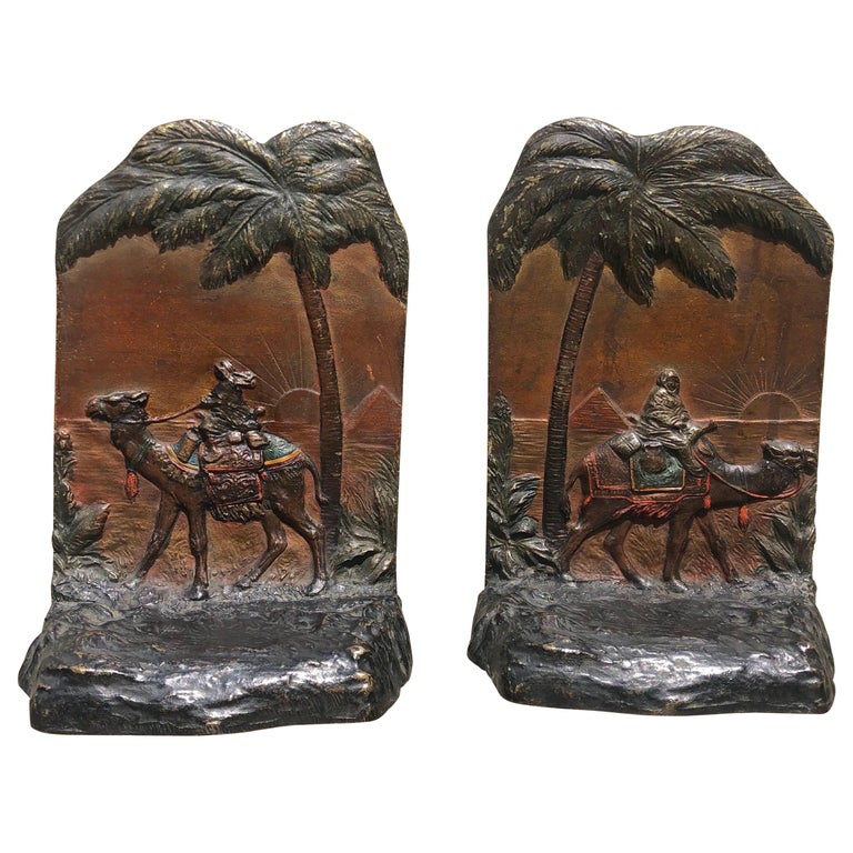 Early 20th Century Austrian Polychrome Bookends with Egyptian Scene For Sale