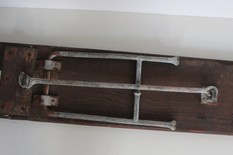 Early 20th Century Staten Island Ferry Auxiliary Hickory and Bronze Bench For Sale 10