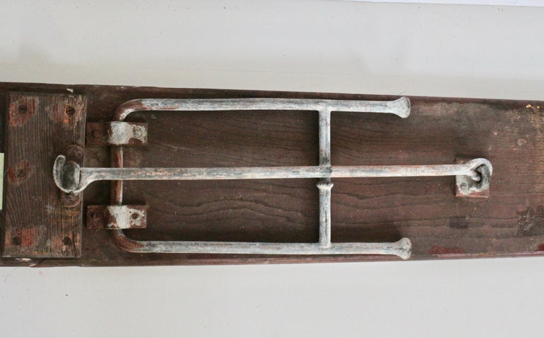 Early 20th Century Staten Island Ferry Auxiliary Hickory and Bronze Bench For Sale 11