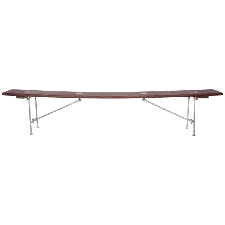 Early 20th Century Staten Island Ferry Auxiliary Hickory and Bronze Bench For Sale