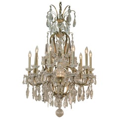 Early 20th Century Baccarat Crystal and Bronze Chandelier