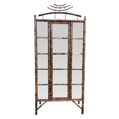 Early 20th Century Bamboo Display Cabinet, Glass Door, Five Shelves