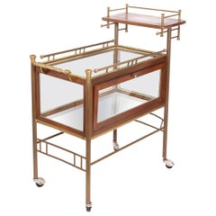 Early 20th Century Bar Cart with Glass Case