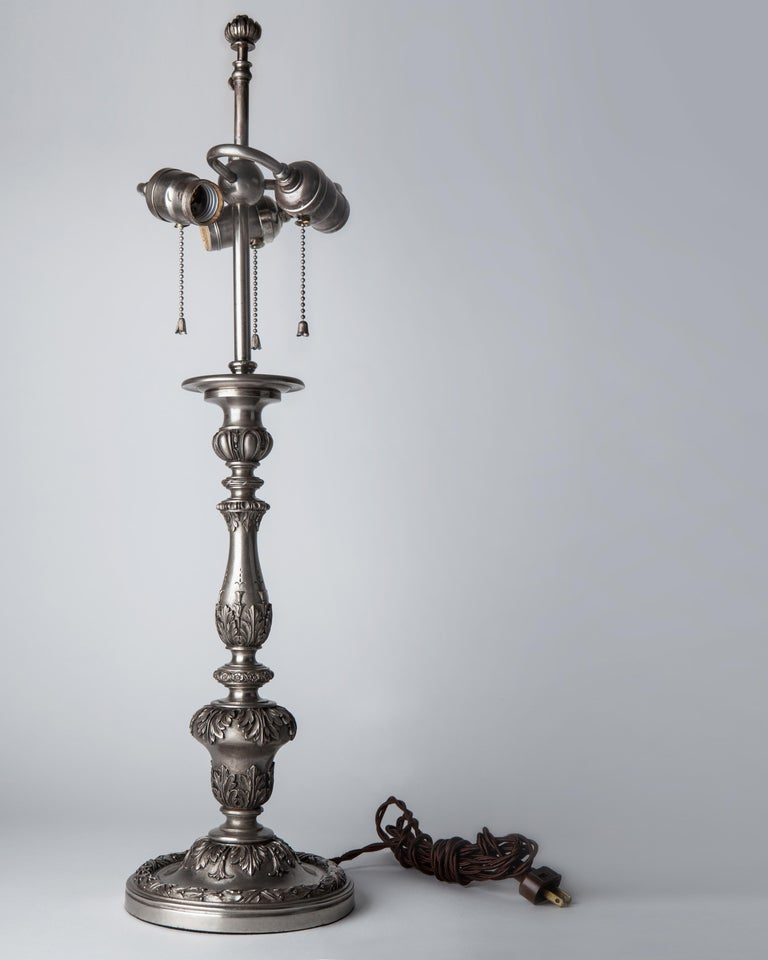 American Early 20th Century Baroque Caldwell Silver Plated Table Lamp For Sale
