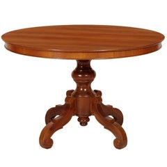 Early 20th Century Baroque Round Table, Hand-Carved Walnut, Walnut Veneer Top