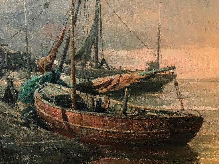 Early 20th Century Belgian Canvas Painting of Boats For Sale 5