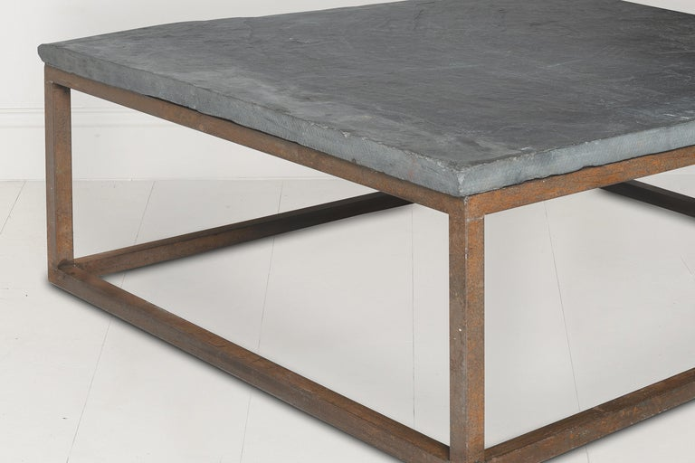 Industrial Early 20th Century Belgian Slate Joined with New Iron Coffee Table Base