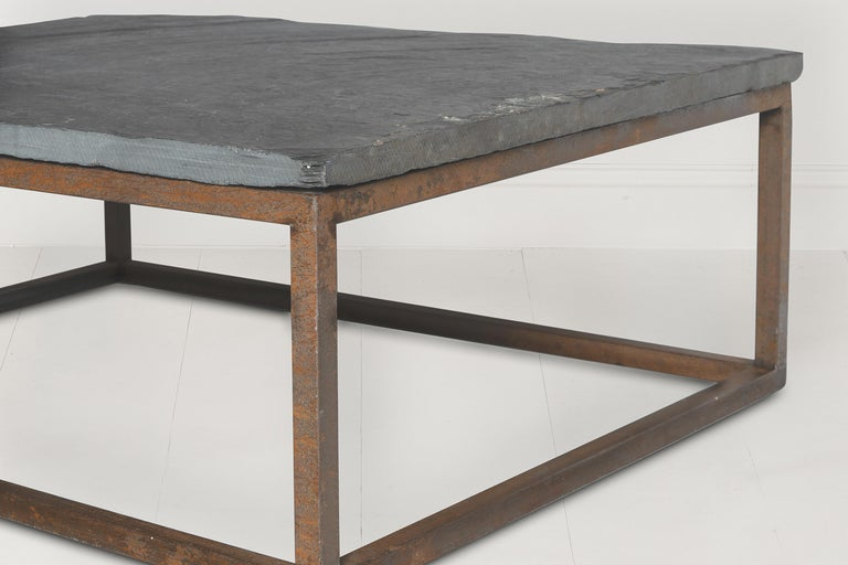 Early 20th Century Belgian Slate Joined with New Iron Coffee Table Base In Good Condition In Wichita, KS