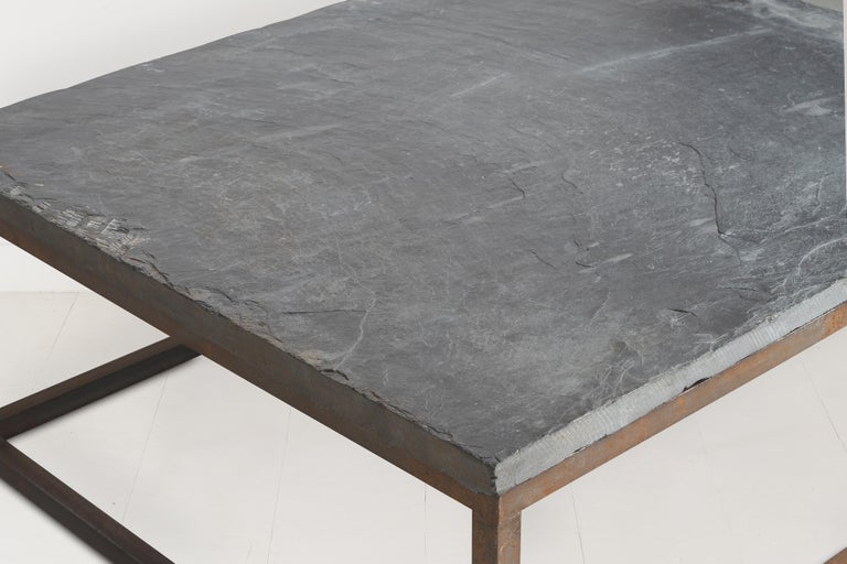 Early 20th Century Belgian Slate Joined with New Iron Coffee Table Base For Sale 1