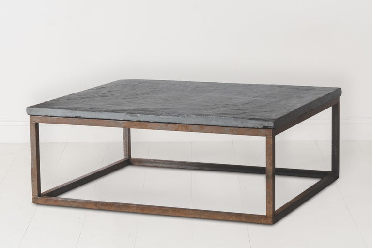 Early 20th Century Belgian Slate Joined with New Iron Coffee Table Base For Sale 3