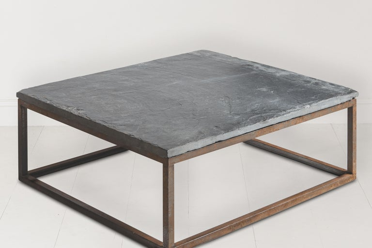 Early 20th Century Belgian Slate Joined with New Iron Coffee Table Base For Sale 5