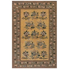 Early 20th Century Bessarabian Floral Brown, Green, Pink and Yellow Rug