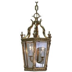 Early 20th Century Beveled Glass French Bronze Lantern